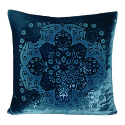 """Moroccan Shark Pillow - 20"""" - Oceanic blues are a cool all-season complement to a luxe outdoor living room or a sumptuous, invigorating bedroom. Add the shade through a focal point of rich textiles and bold design when you use the Moroccan Pillow; this version, a square accent cushion with an eye-catching Near Eastern effect, is colored in a deep transitional hue called Shark. Place the elegant pillow in an armchair for casual comfort and immediate impact."""