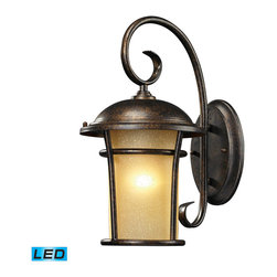 ELK - Elk Lighting 45036/1-LED Bolla Vista Outdoor Wall Light - With A Tuscan Villa Influence, This Outdoor Collection Has A Single Cylindrical Amber Glass That Casts A Warm Glow Adding Charm To Your Outdoor Ambiance. Its Flared Frame Has An Unencumbered Design With A Regal Bronze finish. This light uses 1- LED Offering Up To 800 Lumens (60 Watt Equivalent) With Full Range Dimming. Includes An Easily Replaceable LED
