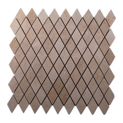 "Crema Marfil Diamond Marble Mosaic Tile - Crema Marfil Diamond Marble Tile The diamond pattern are cut to it fit together like a jigsaw puzzle and it lends an contemporary and professionally finished look to any space. The mesh backing not only simplifies installation. It also allows the tiles to be separated which adds to their design flexibility. The natural material will have a color variation. Chip Size: 2"" x 3"" Color: Crema Marfil Material: Marble Finish: Polished Sold by the Sheet - each sheet measures 12"" x 12"" (1 sq. ft.) Thickness: 9.5mm Please note each lot will vary from the next."