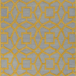 Surya - Surya Dream DST-1173 (Yellow, Blue) 8' Round Rug - With sophisticated and fashionable designs, the Dream Collection features a series of transitional and traditional flavors of the present. Hand tufted from 100% New Zealand wool and individually hand washed, these rugs radiate a luster that will animate any room. The unique splendor and antique finish on these rugs is achieved through special herbal washing techniques.