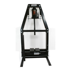 Buffalo Tools - Black Bull 20 Ton A-Frame Shop Press - Use the Black Bull 20 Ton A-Frame Shop Press for installing and removing gears, U-joints, bushings, ball joints, pulleys arbor and press-out jobs. Used by automotive shops and hobbyists to repair and replace bearings, install and remove pressure-fitted parts, and bend or straighten metal.