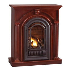 Hearth Sense - Hearth Sense A-Series Mid Height Wall Mantel in Wood (Cherry) - Finish: Cherry. Arched fireplace insert not included. Mid height unit. Made of wood. 40 in. W x 36 in. D x 45.5 in. H