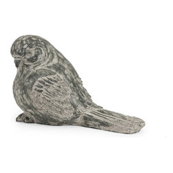 iMax - iMax Singleton Garden Black Bird X-17365 - This twittering friend is perfect for adding character inside or out! With the look of aged, carved, painted wood, this sweet songbird works great as a door stop, a garden decoration, or a decorative room accent in an enclosed patio.