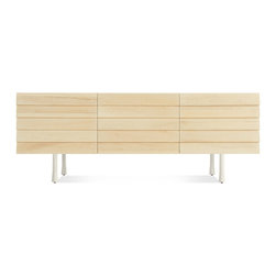 Blu Dot - Lap 2 Door / 2 Drawer Dresser, Maple / White - Overlapping wood drawer and door fronts give the collection its name, while the white washed maple finish and a scene stealing leg bring the visual charisma. With soft close doors and drawers. Three leg finish options available.
