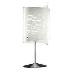 Murano - Pre-owned Murano Glass Table Lamp - The Murano Luce Lapilli table lamp features a heat-curved glass diffuser in white on the inside with nickel-plated satin finish mounting. It is an ideal lighting choice for your bedroom or living room.    Multiple units available. Please contact support@chairish.com if you are interested in purchasing more than one unit.