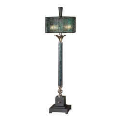 Uttermost Vedano Water Glass Buffet Lamp - Dark blue-green water glass column with polished chrome details and a matte black foot. Dark blue green water glass column with polished chrome details and a matte black foot. The round drum shade is blue green tiffany style water glass.