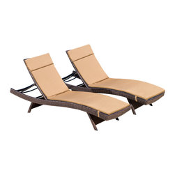 Great Deal Furniture - Lakeport Outdoor Adjustable Chaise Lounge Chairs w/ Colored Cushion (Set of 2), - Add some stylish comfort to your patio decor with these wicker lounges. Complete with colored cushions to add a touch of fun to your outdoor space, these lounges will have you relaxing in style. The chaise lounge chair is weather-resistant and has an adjustable angle back and folding legs for easy stacking.