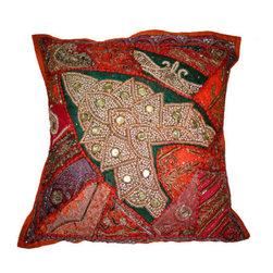 "Mogul interior - 24"" Orange Green Embroidered Cotton Pillow Throw Covers - Cotton"