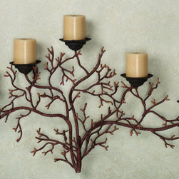 """Touch of Class - Coral Reef Wall Candelabra - From the ocean depths to your home, the Coral Reef Wall Candelabra takes the image of these undersea colonies and turns them into a beautiful and unique lighting accent. Crafted from metal, this wall candelabra resembles branching coral and is finished in burnt red. The five black candlecups have spikes to hold your 3"""" dia. candles. 31""""Wx17""""H."""