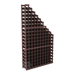 Wine Cellar Waterfall Display Kit in Pine with Walnut Stain + Satin Finish - A beautiful cascading waterfall of wine bottle displays. Create a spectacle of 9 of your favorite vintages. Designed within our modular specifications and to Wine Racks America's superior product standards, you'll be satisfied. We guarantee it.