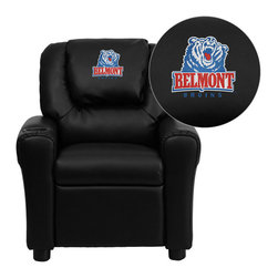 "Flash Furniture - Belmont University Bruins Embroidered Black Vinyl Kids Recliner - Get young kids in the college spirit with this embroidered college recliner. Kids will now be able to enjoy the comfort that adults experience with a comfortable recliner that was made just for them! This chair features a strong wood frame with soft foam and then enveloped in durable vinyl upholstery for your active child. This petite sized recliner is highlighted with a cup holder in the arm to rest their drink during their favorite show or while reading a book.; Belmont University Embroidered Kids Recliner; Embroidered Applique on Oversized Headrest; Overstuffed Padding for Comfort; Durable Black Vinyl Upholstery; Easy to Clean Upholstery with Damp Cloth; Cup Holder in armrest; Solid Hardwood Frame; Raised Black Plastic Feet; Intended use for Children Ages 3-9; 90 lb. Weight Limit; Meets or Exceeds CA117 Fire Resistance Standards; Safety Feature: Will not recline unless child is in seated position and pulls ottoman 1"" out and then reclines; Assembly Required: Yes; Country of Origin: China; Warranty: 2 Years; Weight: 17.5 lbs.; Dimensions: 27""H x 24""W x 21.5 - 36.5""D"