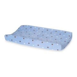 Carter's - Carter's Monkey Rockstar Velour Changing Pad Cover - Make changing your little star an easy and fun experience. Velour pad cover is a delightful blue with star print pattern all over.