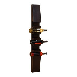 """Wood Wall Six Bottle Wine Rack 73690 - Wood Wall Six Bottle Wine Rack stands vertically, has deep brown finish, and is wall mountable. Features six slots for wine bottles. 37"""" H x 6"""" W"""