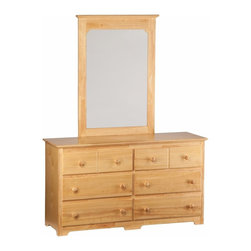 Atlantic Furniture - Windsor 6-Drawer Dresser / Mirror in Natural Maple - Six spacious drawers will help you to accommodate your wardrobe and other dressing needs with this stylish piece. The Windsor Six Drawer Dresser can accommodate the Windsor Portrait Mirror and there is no veneer, just solid Ecofriendly Hardwood finished.