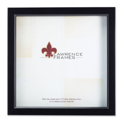 """Lawrence Frames - Black Wood Treasure Box Shadow Box 10x10 Picture Frame - This high quality wood treasure shadow box frame is the perfect memory box.  With 3 4"""" of space inside , you can add treasured items, photos, and clippings.  Can be used as a deep picture frame as well.  Inside is a moveable spacer and glass which offers a variety of display options.  This beautiful narrow depth shadow box frame is constructed with quality in mind and is joined in the corners with a """"spline"""" joint for years of enjoyment.  The molding is approximately 7 8"""" wide, and 1.75"""" deep.  This shadow box frame comes individually boxed, and includes high quality black wood backing.  These display boxes can stand on their own for tabletop display, or can be displayed on the wall with included hangers for vertical or horizontal wall mounting."""