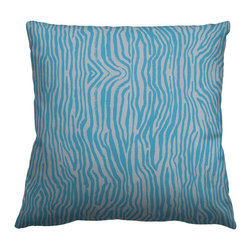 Guildery - Square Pillow Cover in Swimming Zebra - 24x24 knife edge pillow cover with concealed zipper, no piping. Pillow insert not included.