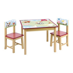 GuideCraft - 28 in. Table with Chairs - Incudes two chairs. Age: Two years and above. Playful farm scene on the tabletop. Hand-painted animals on the seat-backs. A classic gingham pattern on the seats. Double-bolt construction on table legs. Hardwood legs. Angled legs on chairs prevent tipping. Fit for any child's bedroom or playroom. Seat height: 12 in.. Chair: 12.5 in. W x 12 in. D x 25 in. H. Table: 28 in. W x 28 in. D x 21 in. H (44 lbs.). Assembly InstructionsThe farm friends collection is a playful series decorated in all of the favorite farm animals! See the horse trot, the cow and pig play and the ducks swim! The hand-painted barnyard will liven up any day, rain or shine.