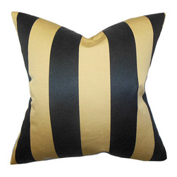 The Pillow Collection - Naoko Gold 18 x 18 Stripes Throw Pillow - - Pillows have hidden zippers for easy removal and cleaning  - Reversible pillow with same fabric on both sides  - Comes standard with a 5/95 feather blend pillow insert  - All four sides have a clean knife-edge finish  - Pillow insert is 19 x 19 to ensure a tight and generous fit  - Cover and insert made in the USA  - Spot clean and Dry cleaning recommended  - Fill Material: 5/95 down feather blend The Pillow Collection - P18-MVT-1235-S50P50