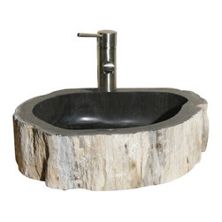 """The Allstone Group - V-VNPBKB Petrified BKB14 Vessel Sink - Petrified wood (from the Greek root petro meaning """"rock"""" or """"stone""""; literally """"wood turned into stone"""") is the name given to a special type of fossilized remains of terrestrial vegetation. From the Far East to your bathroom a petrified sink will certainly add a touch of old and elegance to your new home or remodel."""