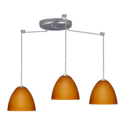 Besa Lighting - Besa Lighting 3BC-757280-LED Sasha II 3 Light LED Cord-Hung Mini Pendant - Sasha II has a classical bell shape that complements aesthetic, while also built for optimal illumination. Our Amber Matte glass is a caramel colored cased glass and opal inner layer. The orange glow has a low key harmonious display that exudes a warm mood. When lit the glass is vitalizing as well as stylish. The smooth satin finish on the outer layer is a result of an extensive etching process. This blown glass is handcrafted by a skilled artisan, utilizing century-old techniques passed down from generation to generation. The cord pendant fixture is equipped with three (3) 10' SVT cordsets and a 3-light round canopy, three (3) suspension stemhooks included.Features: