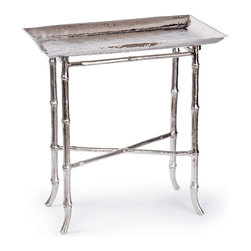 Kathy Kuo Home - Kashgar Global Bazaar Nickel Bamboo Tray End Table - Bridging style traditions across centuries - from Regency to Global Bazaar to contemporary eclectic and beyond - the allure of bamboo pattern cast metal endures.  This lovely tray style end table is a perfect example of the instant glamour and grace that a little bit of bamboo style delivers.