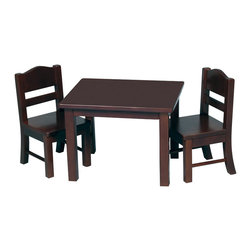 Guidecraft - Guidecraft Espresso Doll Table and Chair Set - Guidecraft - Doll Furniture - G98115 - Our heirloom-quality Doll Furniture Collection is the perfect play-time ensemble. Great for tea parties with your favorite dolls and built just like our kid-sized furniture. Made of hardwood solids each piece is available in both natural and espresso finishes.