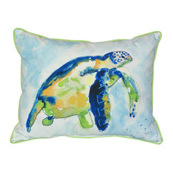 Betsy Drake - Betsy Drake Blue Sea Turtle Pillow- Indoor/Outdoor - Blue Sea Turtle Pillow- Large indoor/outdoor pillow. These versatile pillows are equal at enhancing your homes seaside decor and adding coastal charm to an outdoor setting arrangment. They feature printed outdoor, fade resistant fabric for years of wear and enjoyment. Solid back, polyfill. Proudly made in the USA.