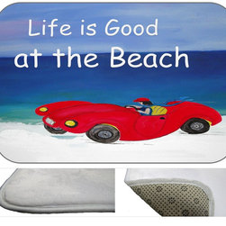 Life Is Good At The Beach Plush Bath Mat, 30X20 - Bath mats from my original art and designs. Super soft plush fabric with a non skid backing. Eco friendly water base dyes that will not fade or alter the texture of the fabric. Washable 100 % polyester and mold resistant. Great for the bath room or anywhere in the home. At 1/2 inch thick our mats are softer and more plush than the typical comfort mats.Your toes will love you.