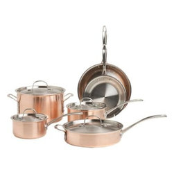 Calphalon® Tri-Ply Copper 10-Piece Cookware Set - Classic copper cookware, a centuries-old culinary tradition, is fashionably updated by Calphalon. Tri-ply construction combines a lustrous brushed copper exterior with satin 18/10 stainless interiors and lids.
