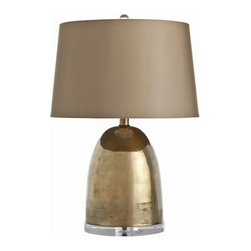"Arteriors Home - Arteriors Home Ryder Small Vintage Brass/Acrylic Lamp - Arteriors Home 46580-147 - Arteriors Home 46580-147  - Bullet shaped vintage brass lamp rests on top of a 1"" thick acrylic base and is topped with a sheer taupe fabric shade with hand rolled edges which is lined in same sheer taupe fabric."