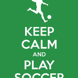 """Keep Calm Collection - Keep Calm and Play Soccer, premium art print (kelly green) - High-quality art print on heavyweight natural white matte fine art paper. Produced using archival quality inks giving the print a vivid and sharp appearance. Custom trimmed with 1"""" border for framing."""