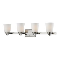 Z-Lite - Z-Lite 2101-4V Nile 4 Light Up Light Bathroom Fixture - A fixture from Z-Lite's Nile Collection, featuring a metal frame, glass shade and modern lines highlight this four light vanity light from the Nile Collection.