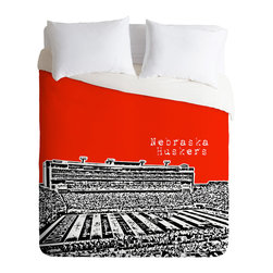 DENY Designs - Bird Ave Nebraska Huskers Red Duvet Cover - Turn your basic, boring down comforter into the super stylish focal point of your bedroom. Our Luxe Duvet is made from a heavy-weight luxurious woven polyester with a 50% cotton/50% polyester cream bottom. It also includes a hidden zipper with interior corner ties to secure your comforter. it's comfy, fade-resistant, and custom printed for each and every customer.