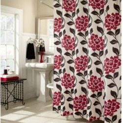 M.style Llc Div Jeffery Fabrics Inc - Flora 70-Inch W x 72-Inch L Fabric Shower Curtain - Shower curtain's lipstick red stylized flowers make a bold and beautiful statement in your bath. Filled with style, shower curtain will be a welcomed addition to any bathroom.