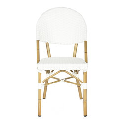 Safavieh - Barrow Stacking Indoor-Outdoor Side Chair - Off White - A stylish solution to extra guest seating, the Barrow stacking side chair by Safavieh is crafted for indoor-outdoor use. Based on a timeless tropical design, with off-white PE wicker and faux bamboo aluminum frame, this set of two Barrow chairs adds retro flair to the family room or patio.