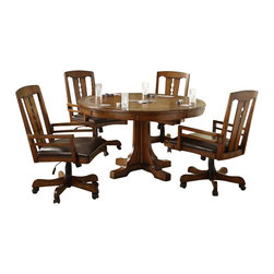 Riverside Furniture - Riverside Furniture Craftsman Home 5 Piece Convert a Height Dining Table Set - Riverside Furniture - Dining Sets - 2951295255x45PCPKG