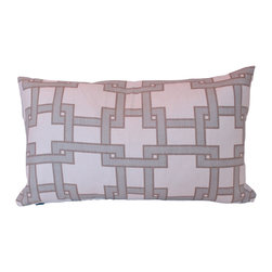 The Pillow Studio - Light Blue Decorative Designer Lumbar Pillow in Kravet Fabrics - This Thom Filicia lumbar pillow cover has a giant poppy flower on the front and a perfectly coordinated geometric fabric on the back; it's lie two pillows in one!