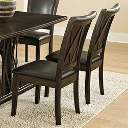 Homelegance - Homelegance Garvey Side Chair w/ Dark Brown Bi-Cast Vinyl Seat - Beautiful from every angle, the ebony finished Garvey Collection is a unique addition to your contemporary or transitional casual dining room. The boldly designed base of the table features interwoven wood slats creating a birdcage effect. The radiating walnut veneer pattern of the tabletop creates another design layer that takes the style to the next level. With two chair options, the collection becomes exactly what you envision. White or dark brown bi-cast vinyl seating and backs are accented with the base's X-design rounding out the look. - 2539BRS.  Product features: X-back design; Dark brown bi-cast vinyl seating; Ebony finish. Product includes: Side Chair (1). Side Chair w/ Dark Brown Bi-Cast Vinyl Seat belongs to Garvey Collection by Homelegance.