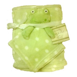 Frog Lime Green Polka Dot Plush Baby Blanket Set - Frog Lime Green Polka Dot Plush Baby Blanket Set comes with baby blanket and security blanket with green frog head. 100% polyester. Machine wash warm.