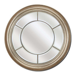 Paragon Decor - Round Silver - Modern styled round mirror features a beveled mirror (38h x 38w) encircled with beveled mirror panels.