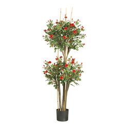 Nearly Natural - Nearly Natural 5' Mini Rose Silk Tree - Rose enthusiasts will adore this topiary style mini-rose silk tree. With its popular double ball pattern, this elegant work of art is a refreshing change from traditional topiary shrubs. Dainty delicately crafted crimson petals and fresh miniature buds fill each sphere shaped bloom. A full 5' high, this enchanting beauty makes a bold statement despite its feminine charm and appeal.