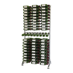 VintageView - VintageView 288 Bottle Freestanding Wine Rack, Brushed Nickel - An all-in-one wine storage system focused on total wall utilization. Suited for retail displays that present labels for hands-free identification of bottles. Steel resists wear and allows for easy cleaning. Package includes six WS32 racks on top, six WS33 racks on the bottom, and a presentation row in the middle.