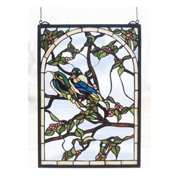 Meyda - 14 Inch W X 20 Inch H Lovebirds Window Windows - Color Theme: Vac(Lt) Blue/Green Pink