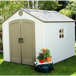 Lifetime - Lifetime Outdoor Storage Shed (8' x 10') - Lifetime storage shed is your solution to storage problems Outdoor shed provides ample space for gardening equipment with shelving units and peg strips Shed is UV-protected from fading and cracking