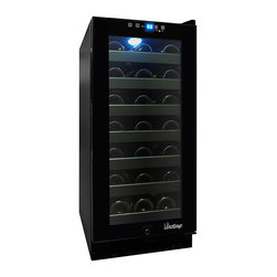 Vinotemp - Vinotemp - 33-Bottle Touch Screen Wine Cooler - This sleek, all black 33 Bottle Touch Screen Wine Cooler will bring a touch of sophistication to your home. The interior blue LED light and dual-paned glass door make for a gorgeous wine display and the unit has a touch screen control panel, which makes it easy to maintain the ideal storage environment.