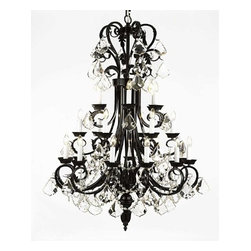 The Gallery - Large Foyer / Entryway Wrought Iron chandelier - Wrought Iron chandelier. A Great European Tradition. Nothing is quite as elegant as the fine chandeliers that gave sparkle to brilliant evenings at palaces and manor houses across Europe. This beautiful chandelier from the Versailles Collection has 24 Lights. The frame is Wrought Iron, adding the finishing touch to a wonderful fixture. The timeless elegance of this chandelier is sure to lend a special atmosphere anywhere its placed!