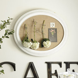 Ballard Designs - Devan Message Board - Available in cork or chalkboard. Antique White finish. With its distinctive oval shape, our Devan Message Board makes the average to-list positively noteworthy. Crafted of composite materials with beaded edge detail. Devan Message Board features: . .