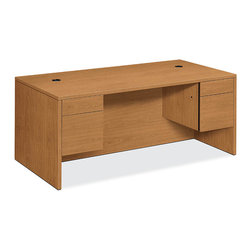 Rulers.com - HON 10500 Series Double Pedestal Desk - This single pedestal desk is ideal for private and open commercial offices. It is built with a file drawer and a box/supply drawer for storage, and both drawers lock. It also includes cord management grommets in the top to help neatly route cables and cords.