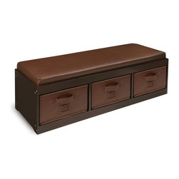 Badger Basket - Badger Basket Kids Storage Bench with Cushion & 3 Bins - Espresso - 90910 - Shop for Childrens Chairs from Hayneedle.com! The Badger Basket Kids Storage Bench with Cushion & 3 Bins - Espresso is a beautiful classic piece that allows your child to easily clean and organize their room. Featuring a warm espresso finish with accenting brown cushions this bin is a lovely complementary piece to almost any room. The cushions and bins are covered in a durable and easy to clean faux leather covering. Designed to make cleaning and organizing simple for your child each bin has a card holder so it can be labeled as well as a handle which makes it easy for even small hands to pull and out. The bins are also on wide rails allowing the bins to slide in and out smoothly. Made with reinforced binding on all edges you can also use these bins elsewhere in the house or fold them down and store them. A solid back panel prevents the bins from sliding all the way through the bench and makes sure everything doesn't come tumbling out. With a comfortable cushion secured to the top your child will love having their own private place to sit and read or journal. The top of this storage bench lifts up like a lid so you can easily see inside each of the baskets all at once and can make cleaning up even easier. Able to support up to 200 lbs. you can even use this bench in a playroom or in a shared room. Easy to clean with mild soap and water you'll be tempted to use this storage bench in your own room. Additional Features Helps to organize your child's room Sized for children to easily use Card holders allow you to label the bins Bins feature a handle for easy use Bins are reinforced with binding on all edges Bins can be removed for use elsewhere Bins fold down for easy storage Back panel prevents items from being pushed through Wide rails allow the bins to slide in and out Top cushion is secured to the top of the bench Top can be lifted like a lid Bench supports up to 200 lbs. Eas