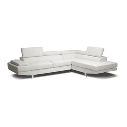 Baxton Studio - Baxton Studio Selma White Leather Modern Sectional Sofa - Seductively sleek and unapologetically urban, the Selma Designer Sectional is a star in the sofa world.  Baby sofas everywhere can only hope to grow up to have features as substantial as Selma??????s: a solid hardwood frame, firm foam cushioning, s springs, and pocket springs are the things dreams are made of. Adjustable headrests, metal bracket connectors, and chrome-plated legs with non-marking feet take this modern sofa and chaise set to the next level. Made in Malaysia, the Selma Sectional is finished with white bonded leather (also offered separately in black), requires assembly, and should be wiped clean with a damp cloth.